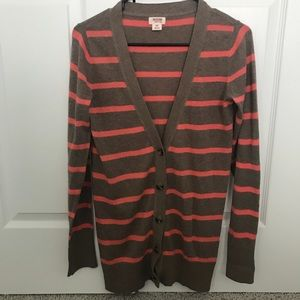Mossimo brown and coral cardigan size Small